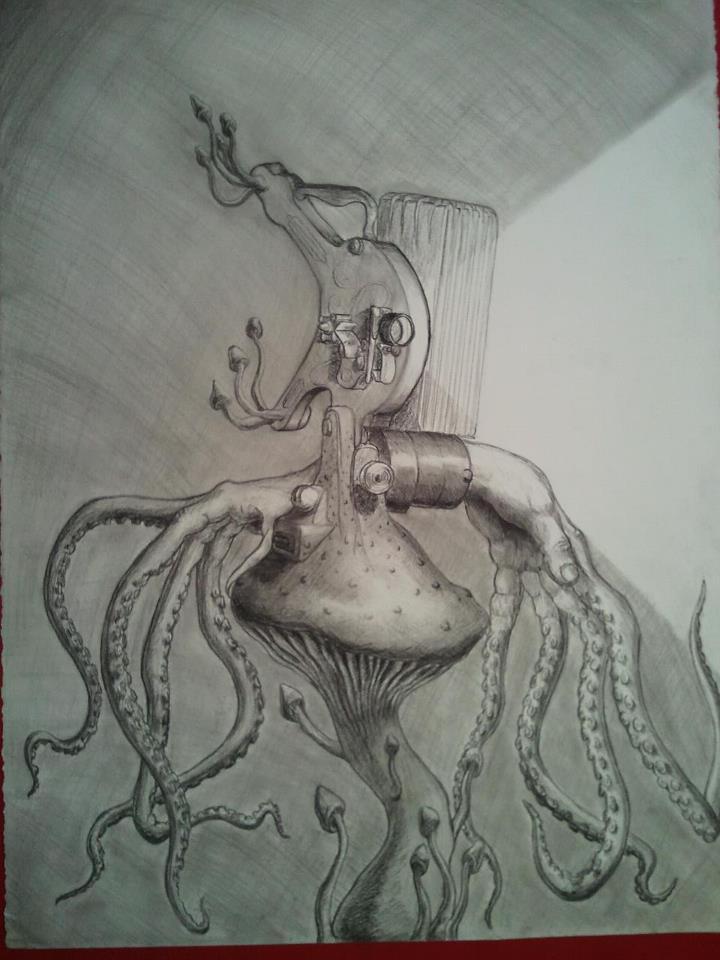 Octopus, Mushroom, projector, hands hybrid
